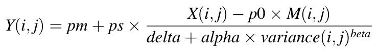 Y(i,j) = pm + ps * ( X(i,j) - p0 * M(i,j)) / (delta + alpha * VAR(i,j))^beta