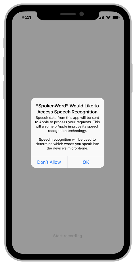 When an app requests authorization to use speech recognition, the system prompts the user to grant or deny access to the feature.