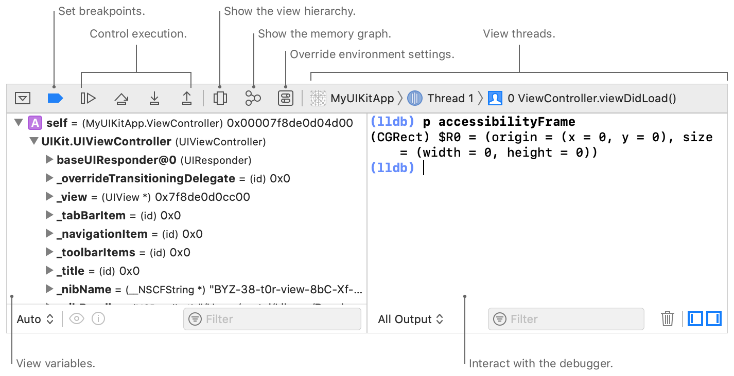 Screenshot showing the debug area controls to set breakpoints, control execution, show the view hierarchy, show the memory graph, override environment settings, and view threads.