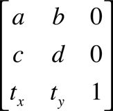 A 3 by 3 matrix.