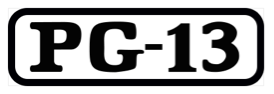 The phrase P G dash thirteen, inside a black rectangle with rounded corners.