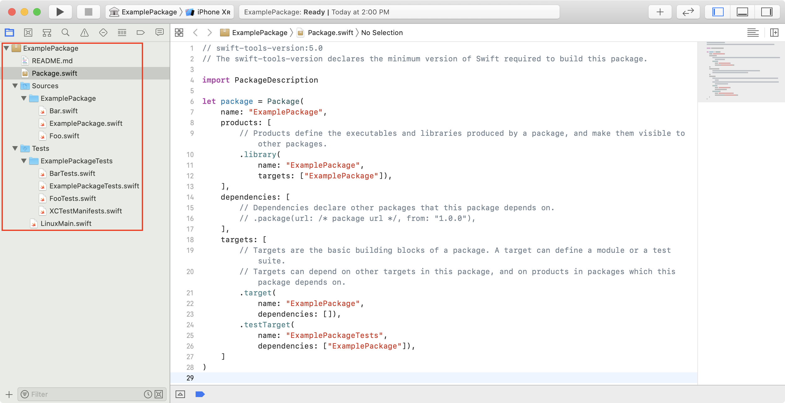 Screenshot showing a standalone Swift package with two added source files and two unit test files.