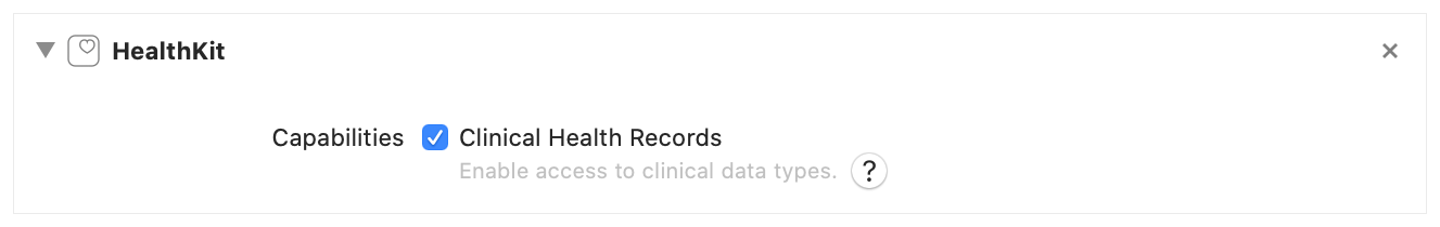 A screenshot of Xcode's Signing & Capabilities tab with the Clinical Health Records checkbox selected.