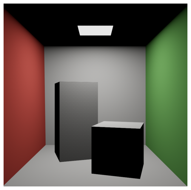 Image showing two boxes rendered using only primary rays. There are no shadows, and geometry not in direct light is black.