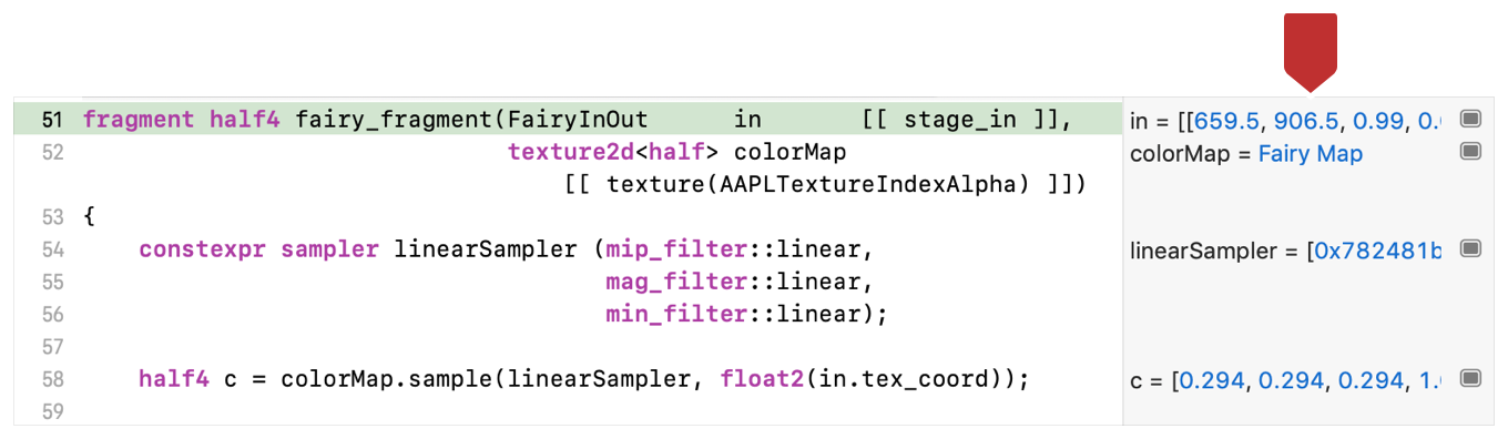 Screenshot of the source code view with the variables sidebar marked by a callout.