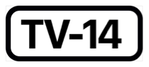 The phrase T V dash fourteen, inside a black rectangle with rounded corners.