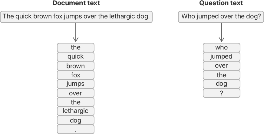 Flow diagram showing the conversion of raw strings into tokens. The example document text, and example question text, each start as a contiguous raw string, and transition to a sequence of tokens. Each token is a complete word or a punctuation mark, such as a period or question mark.