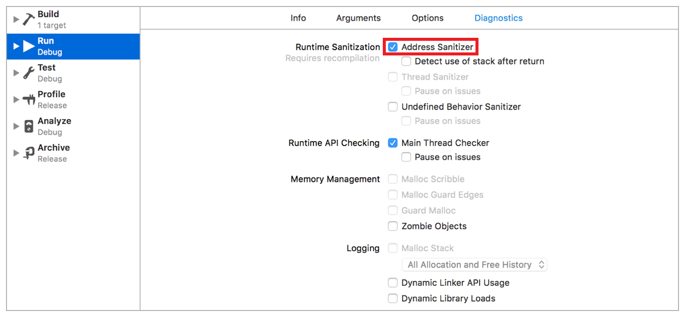 Enabling the Address Sanitizer | Apple Developer Documentation