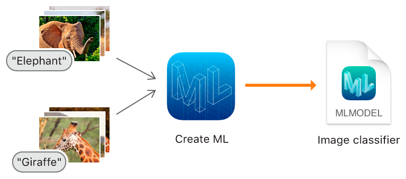 Diagram showing how Create ML trains a model using collections of labeled images.