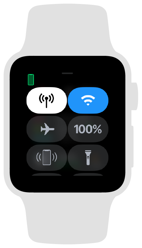 Screenshot showing the Apple Watch control center when the watch is connected to a paired iPhone.