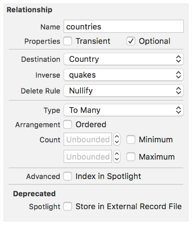 Screenshot showing the countries relationship in the Data Model inspector. Its destination is Country, inverse is quakes, delete rule is Nullify, and Type is To Many.