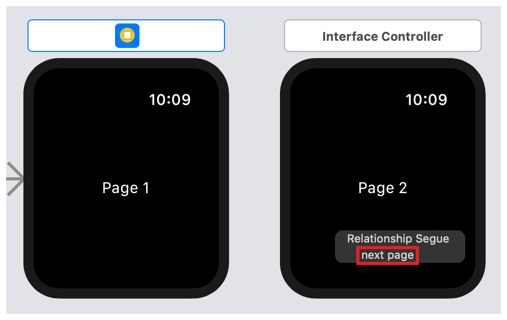 A screenshot showing the next page menu item in the Relationship Segue pop-up menu.