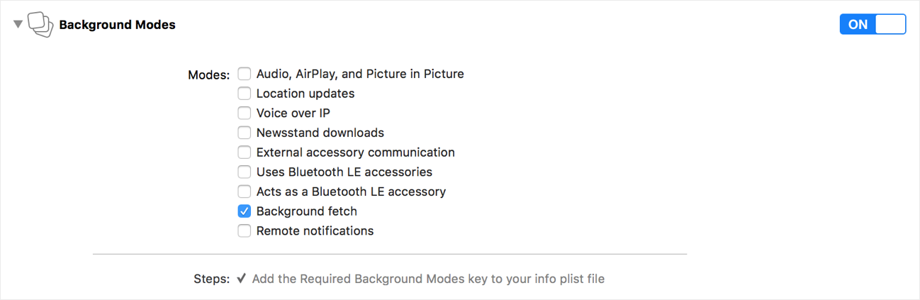 Enable the background fetch option from the Background Modes section of the Capabilities tab.