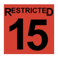 The word restricted, above the nubmer 15, in black, inside a red-filled square.