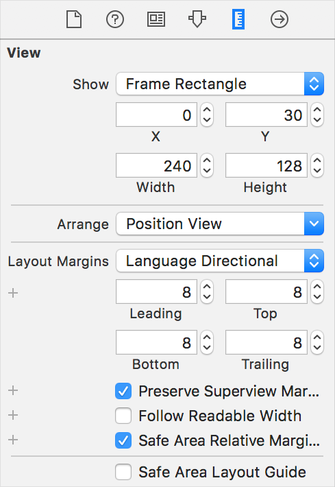 Setting margins using the Size inspector