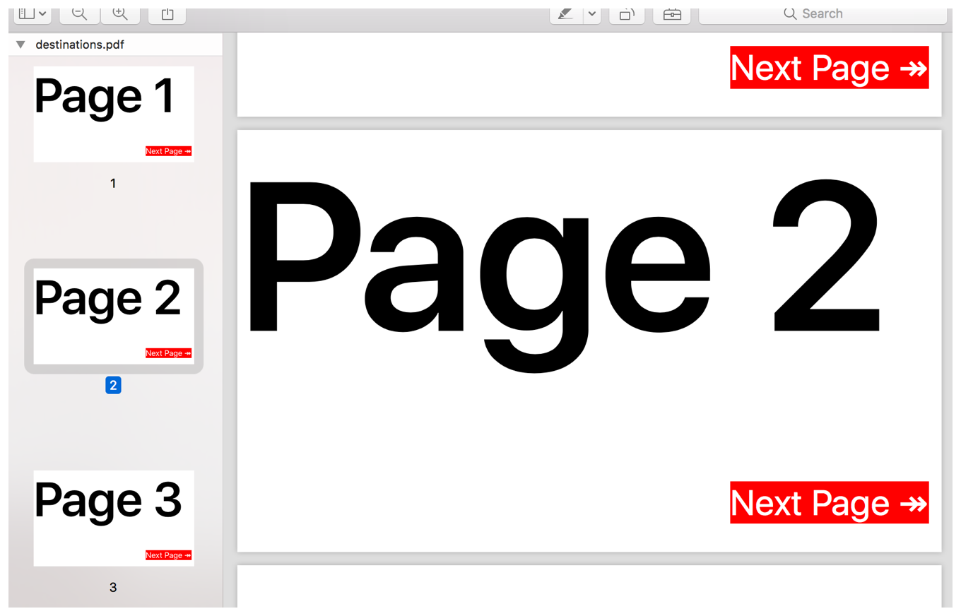 "Screenshot from Preview showing a 3-page PDFs with red links entitled ""Next Page"" at the bottom-right of each page."