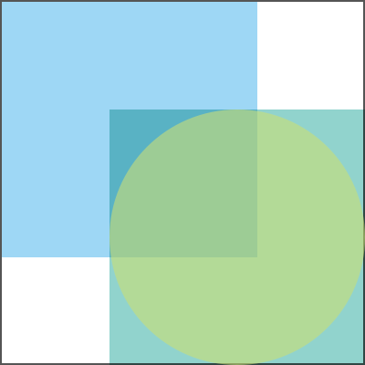 An image showing two overlapping squares and an overlaid green circle.
