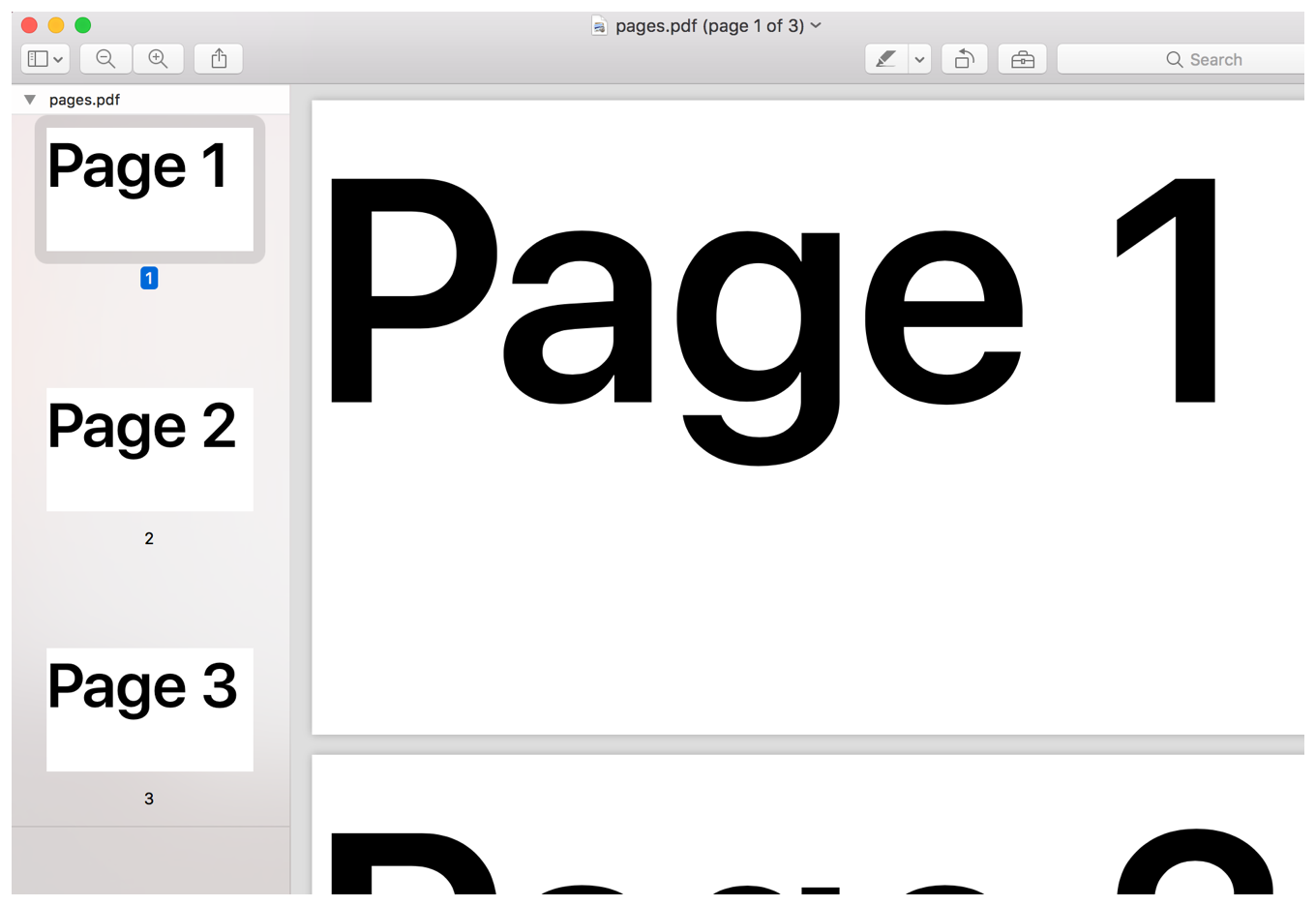 Screenshot from Preview showing a 3-page PDF. Each page contains large black lettering which details the current page number.