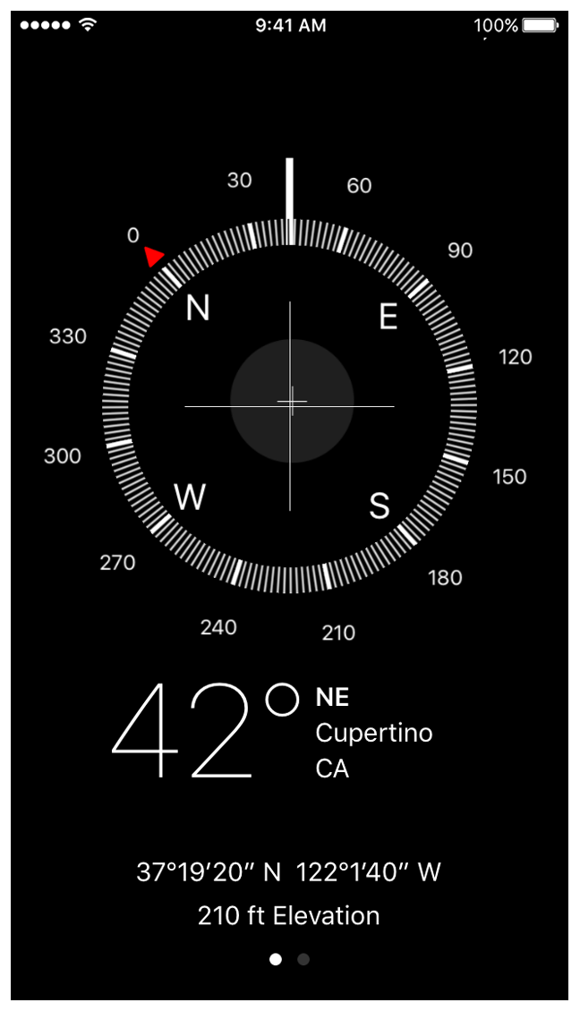The Compass app showing a heading of Northwest