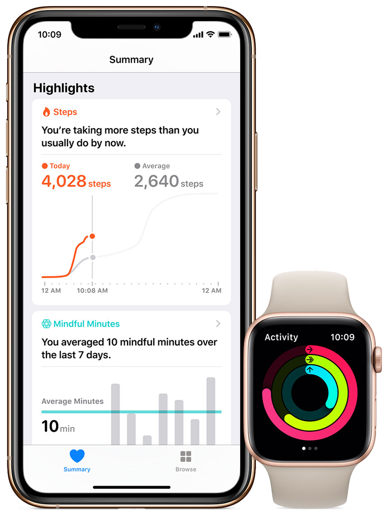 An image showing Health on iPhone and Activity  on Apple Watch.