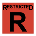 The word restricted, above the letter R, in black, inside a red-filled square.