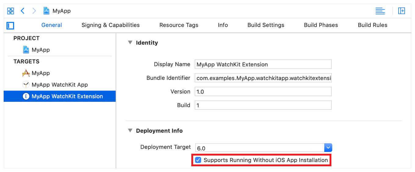 "A screenshot showing the ""Supports Running Without iOS App Installation"" setting in the General tab's Deployment Info section."