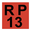 The phrase R P, above the number thirteen, in black, inside a red-filled square.