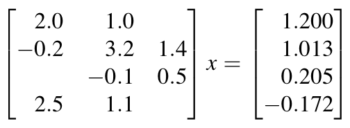 Equation to solve using the iterative method Least Squares Minimum Residual (LSMR).