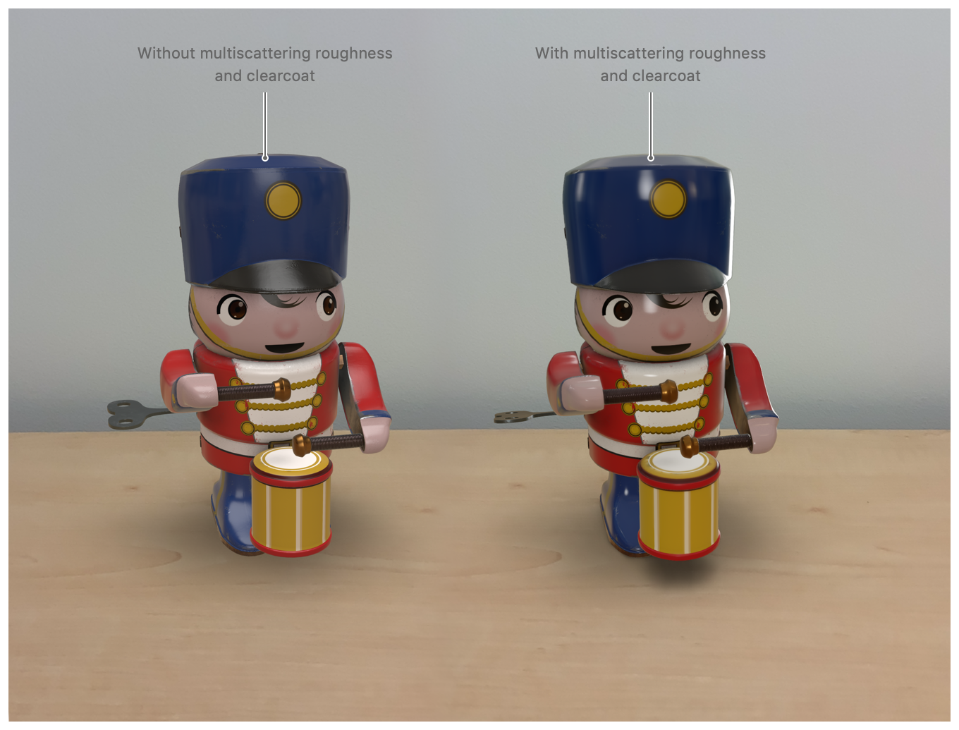Screenshot of two wooden toys side-by-side to demonstrate the effect of adding the model features. The image of the toy on the left is pictured without multiscattering roughtness and clearcoat; the image of the toy on the right uses multiscattering roughness and clearcoat.