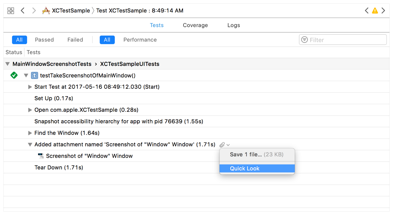 The output of a UI test, as viewed in Xcode's test results browser. One of the items in the output is a screenshot of a window. A contextual menu is displayed showing an option to view a Quick Look of the screenshot.
