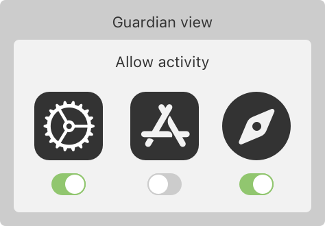 A web diagram consisting of three arrows to the left, below and right with a settings icon in the center. On the left side is a yield sign toward 18+ content. To the right is a restrict sign toward app store content, and below is a lock sign toward iPhone passcode.