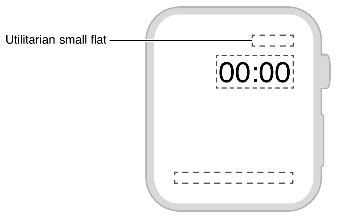 Diagram showing the size and position of a utilitarian small flat complication.