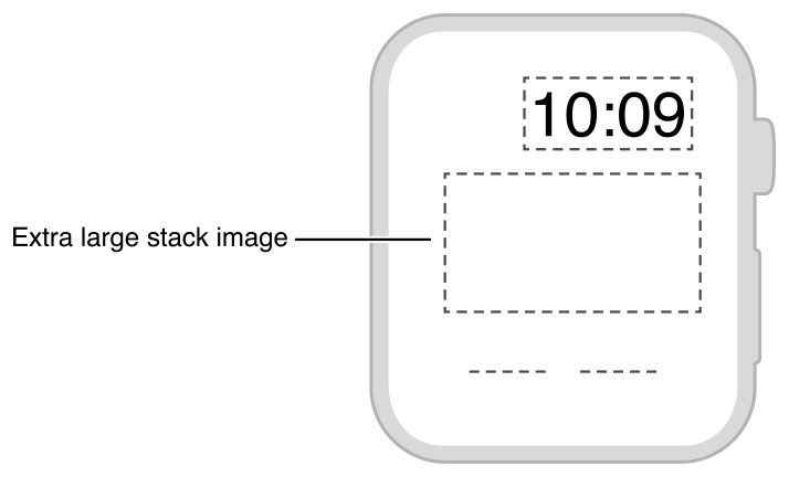 Diagram showing the layout of an image positioned above a short line of text.