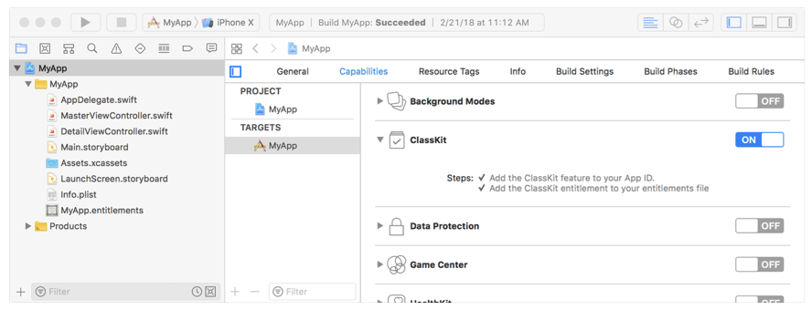 Screenshot showing the ClassKit capability enabled in Xcode.