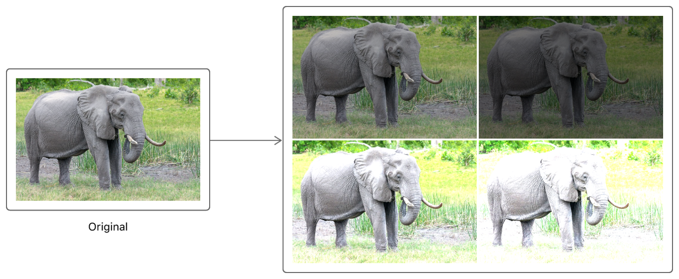 Diagram showing how the original image results in four variants with different exposures.