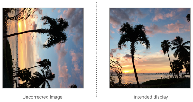 To correct an image with left orientation for display, rotate it 90° counterclockwise.