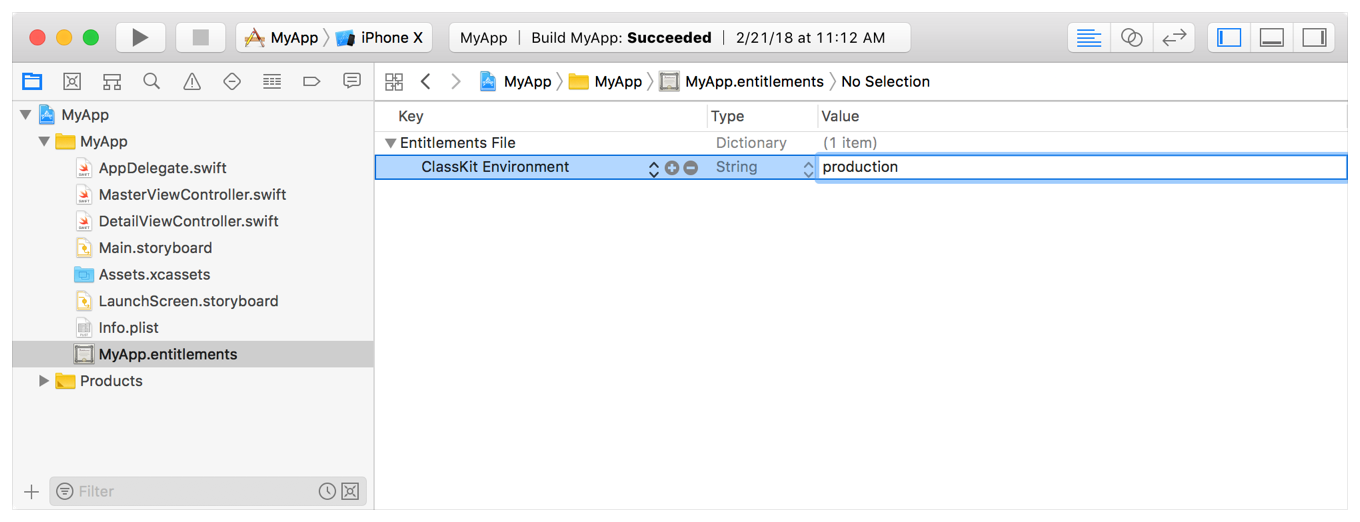 Screenshot showing how to set production mode in your entitlements file.