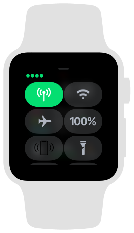 Screenshot showing the Apple Watch control center when the watch is using a cellular connection.