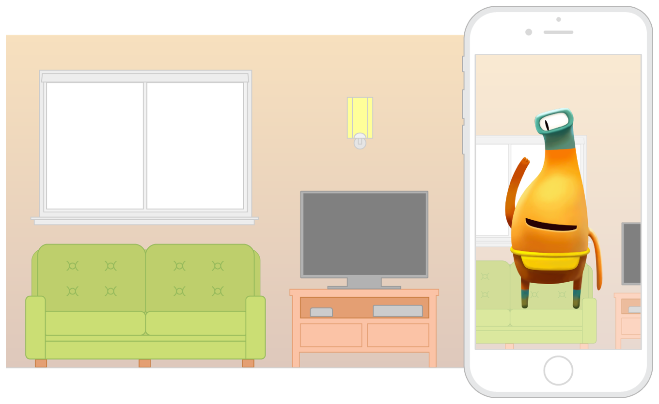 Illustration of an iPhone running an app that displays an AR experience using the rear camera. The physical environment is depicted as a living room with a couch, on which, the app displays a virtual character.