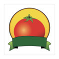 A drawing of a tomato with a green banner below it and a yellow circle behind it.