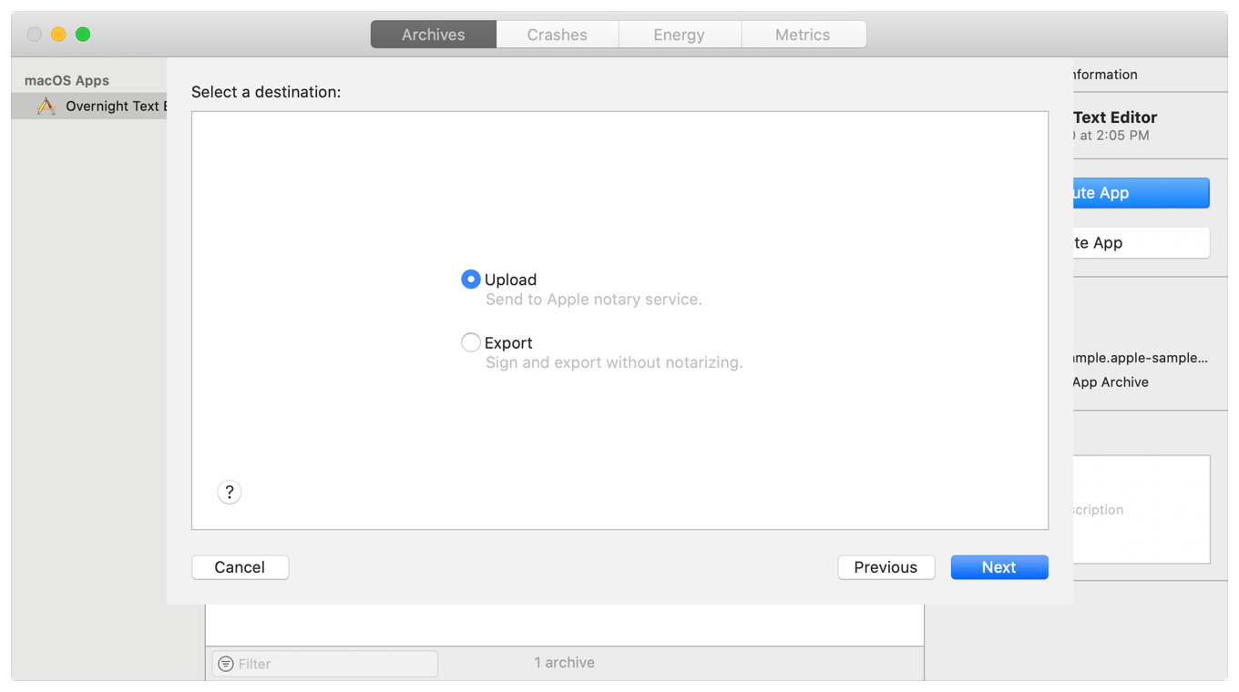 Screenshot of Xcode's Organizer window showing the Upload and Export destination options for a given archive.