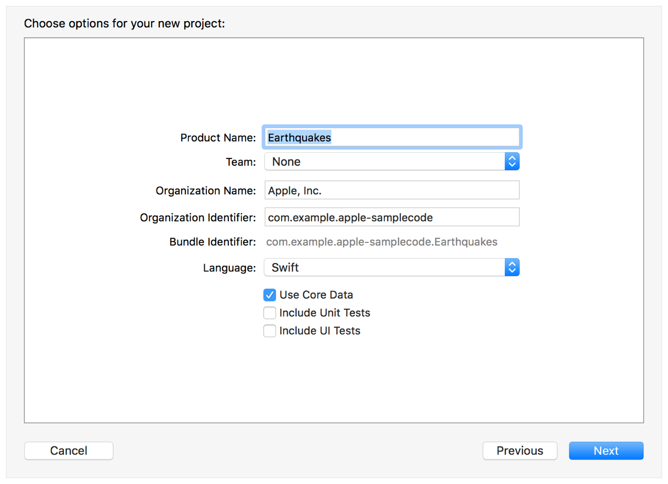 Screenshot showing the Use Core Data checkbox in the options for creating a new Xcode project. The checkbox appears after the language dropdown, and before the checkboxes for including Unit Tests and UI Tests.