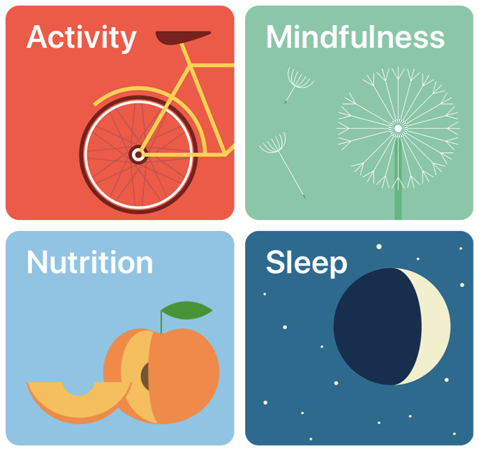Illustration showing the activity, mindfulness, nutrition, and sleep icons from the Health app.
