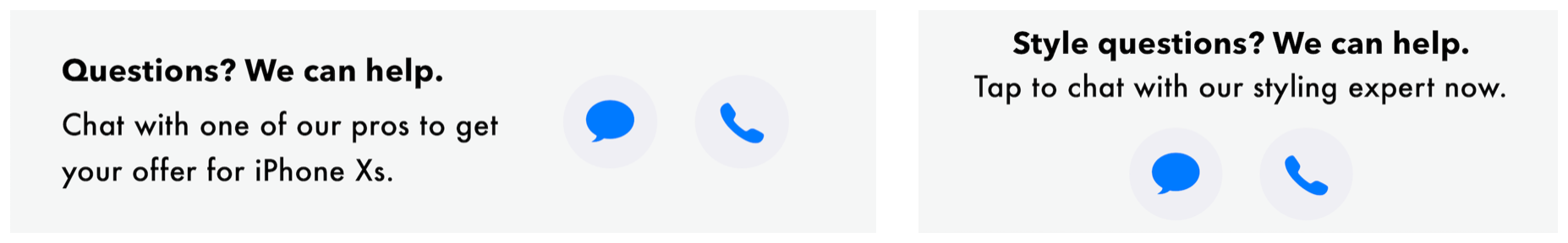 A Business Chat button in banner mode with context, CTA, and message and phone buttons centered horizontally (left); and vertically (right).