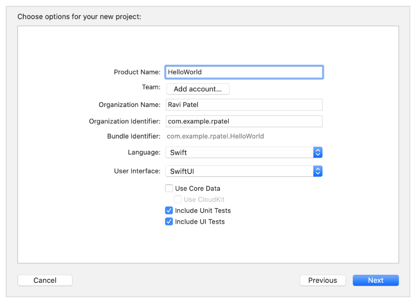 Screenshot showing new project options where you enter a product name, organization name, and organization identifier, and choose a Team and a programming language.