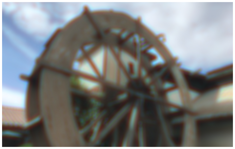 Photograph blurred using multiple-kernel convolution.