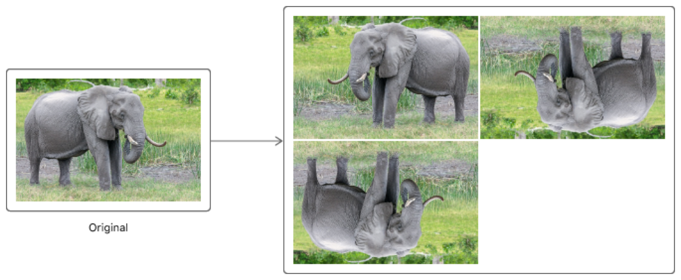 Diagram showing how the original image results in three flipped variants.