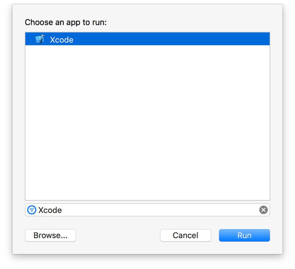 Screenshot showing an Xcode dialog with a list of apps to run. The selected app is Xcode.