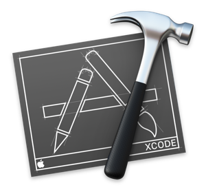 The app icon for Xcode with a black background instead of the usual blue background.