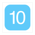 A white number ten, inside a light-blue-filled square with rounded corners.